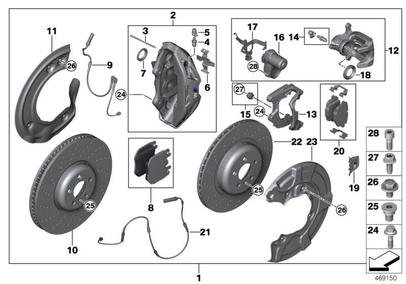 Set, M Performance brake, front/rear BMW G30 sedan 58528