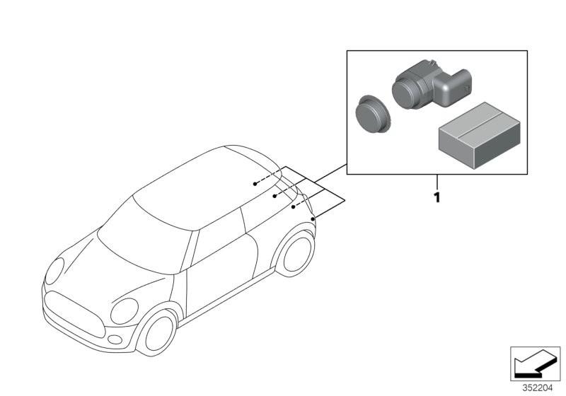 Retrofit kit PDC, rear BMW F56 3-doors 56283