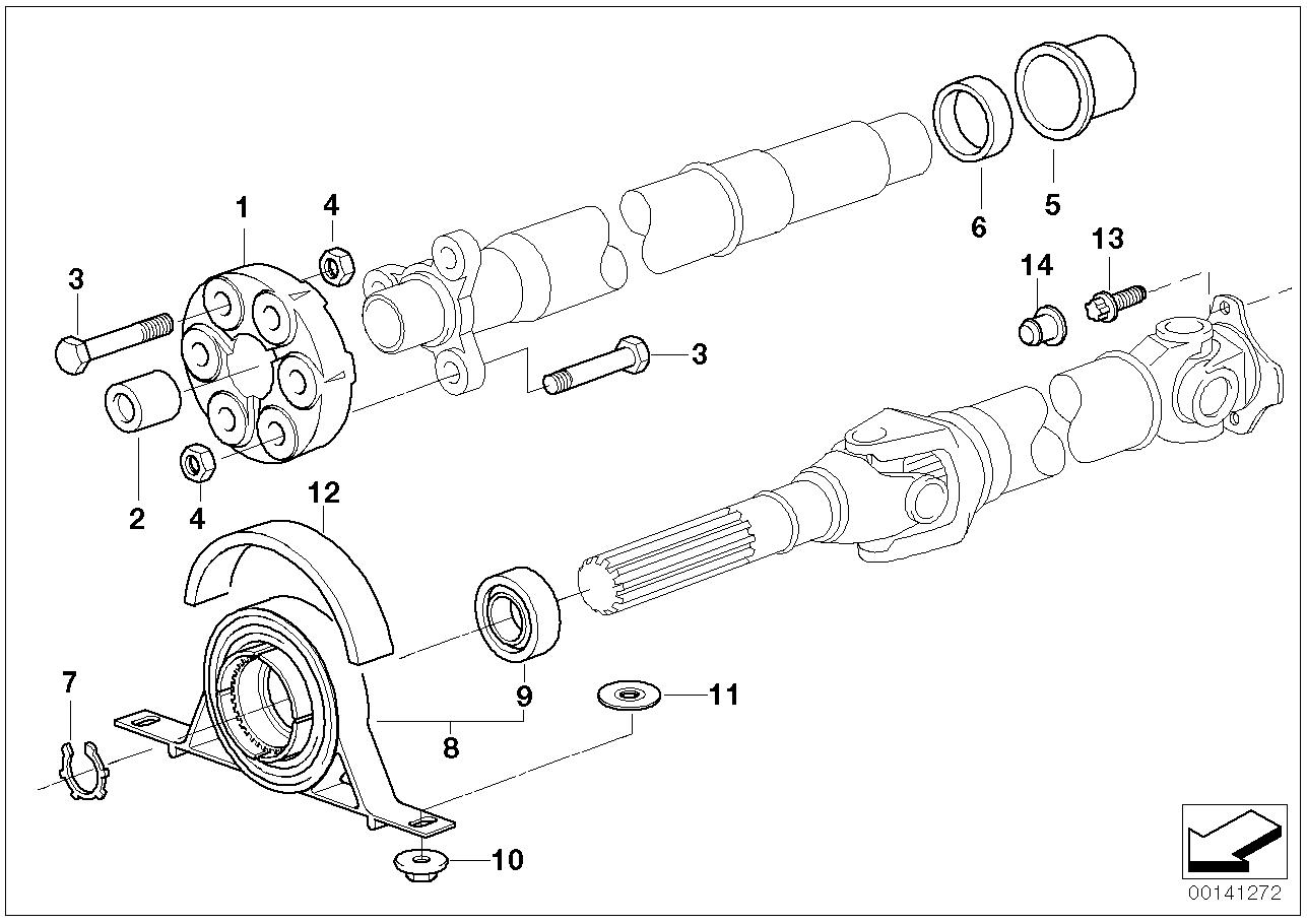 Drive shaft-cent.bearing-universal joint BMW E46 sedan 47638