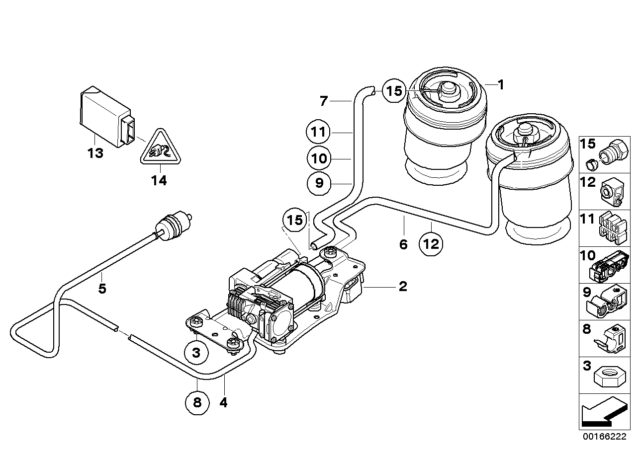 Levell.device, air spring and ctrl unit BMW E71 SAC 51922