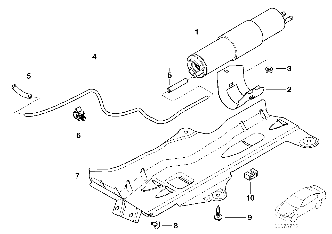 Fuel filter, pressue regulator BMW E46 sedan 47644