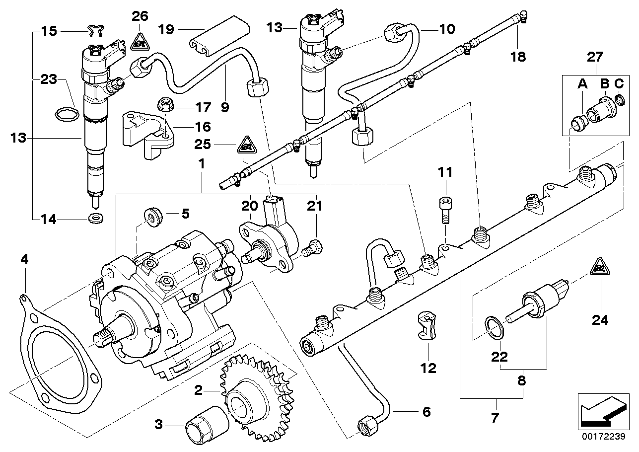 Fuel inject.syst./Diesel high-press.pump BMW E39 sedan 47545