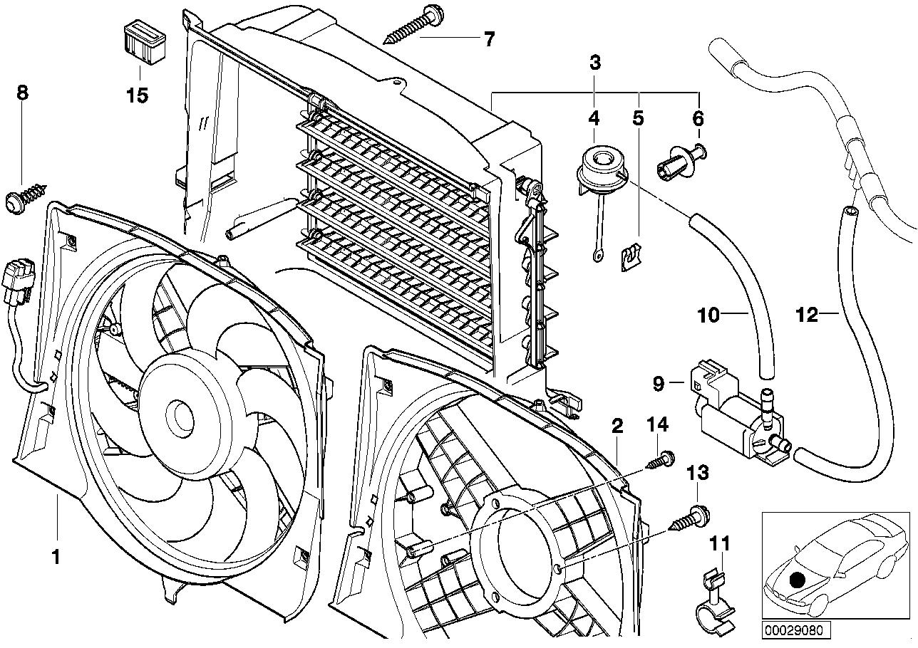 Fan housing, mounting parts BMW E46 sedan 47634
