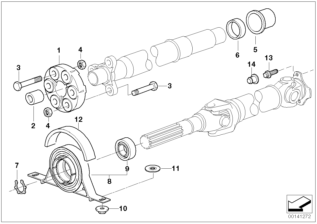 Drive shaft-cent.bearing-universal joint BMW E46 sedan 47636