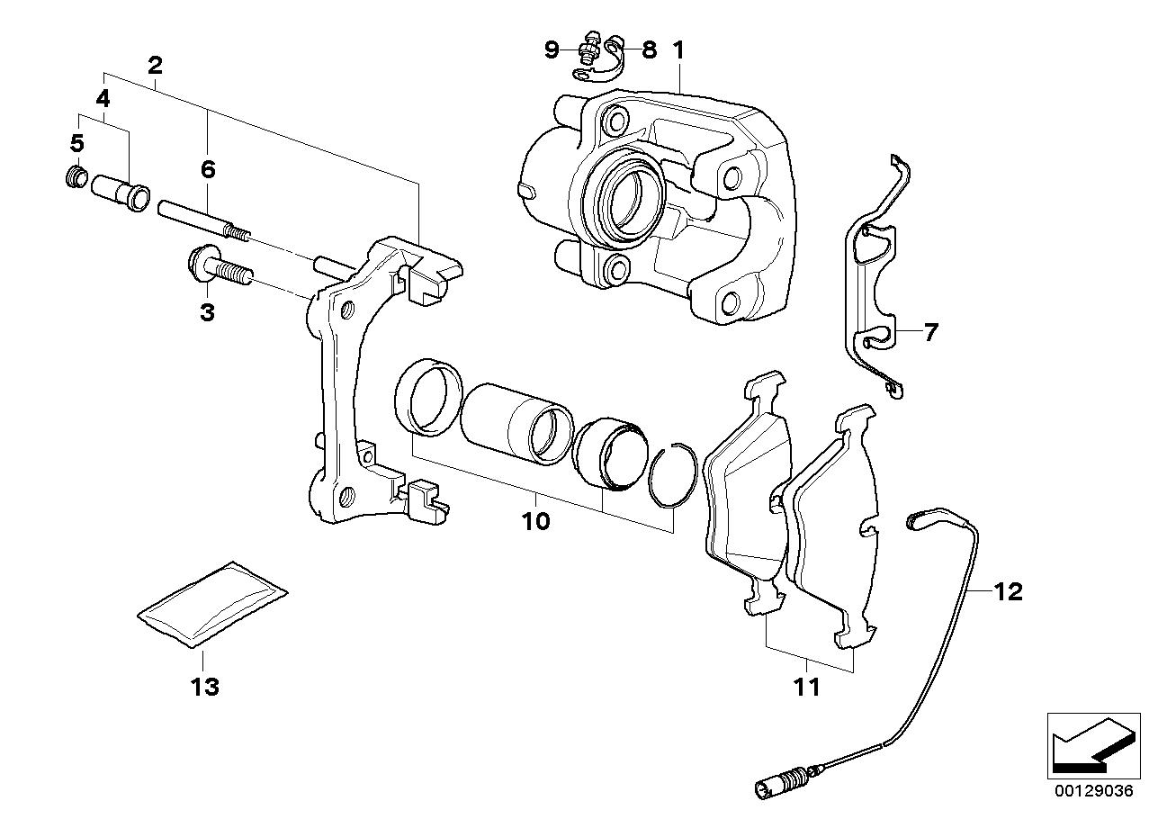 Rear wheel brake, brake pad sensor BMW E83N SAV 50484