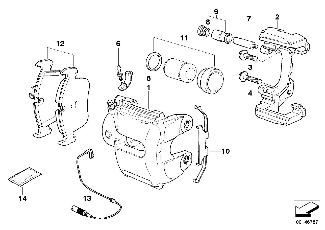Front wheel brake, brake pad sensor BMW E66 sedan 48478