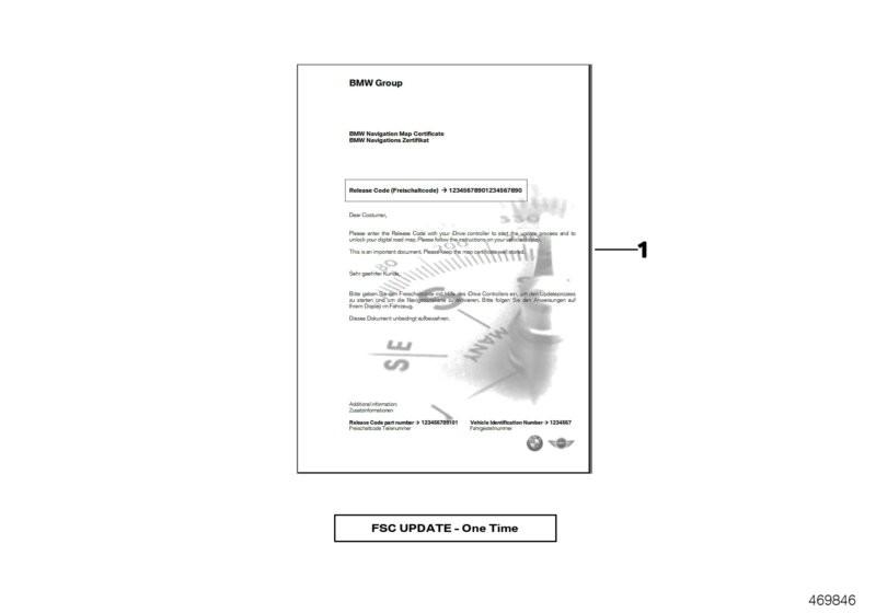 Enabling code 1-year update NAV HU-H2 BMW F34 Gran Turismo 56538