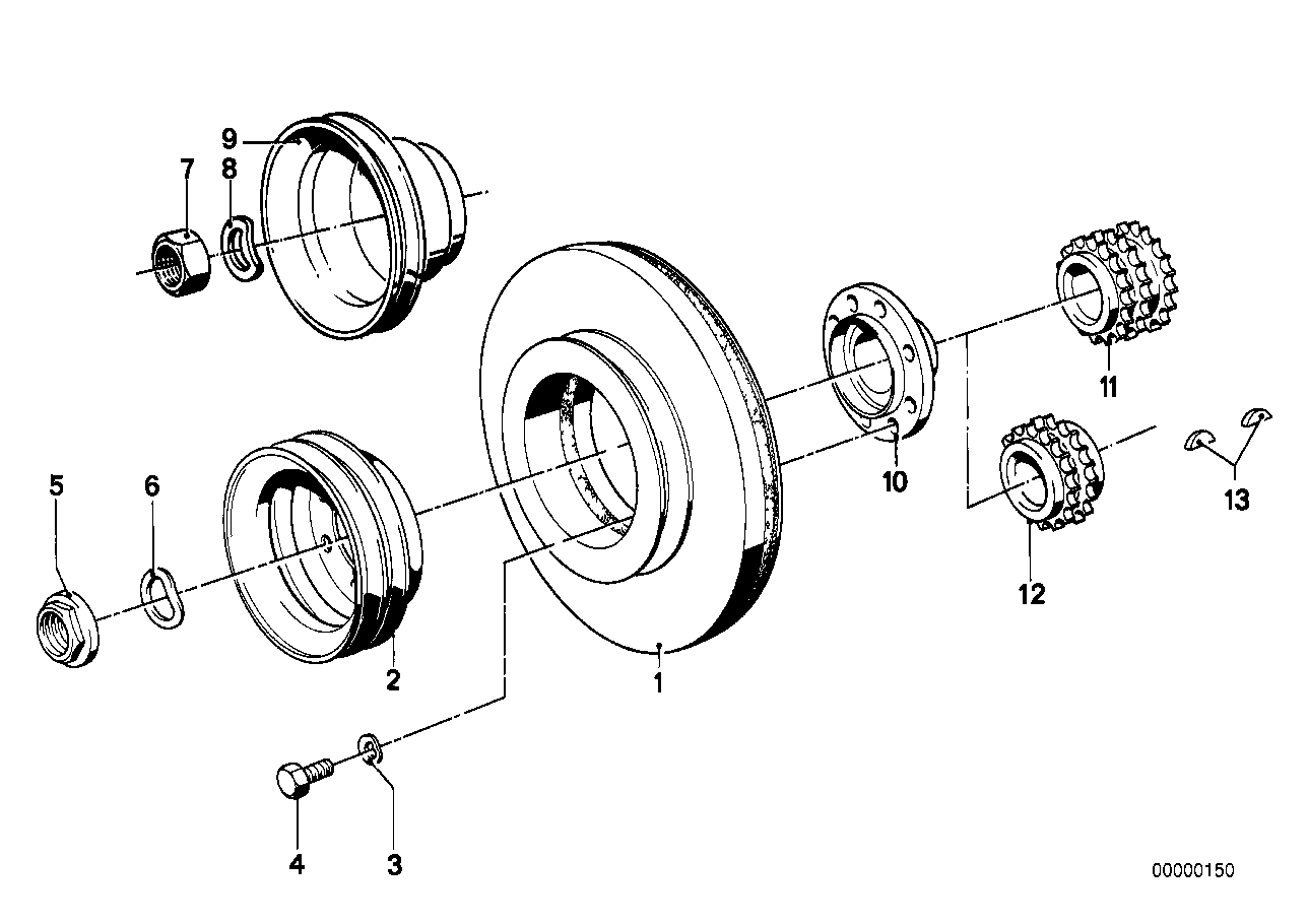 Fan belt drive-v belt pulley
