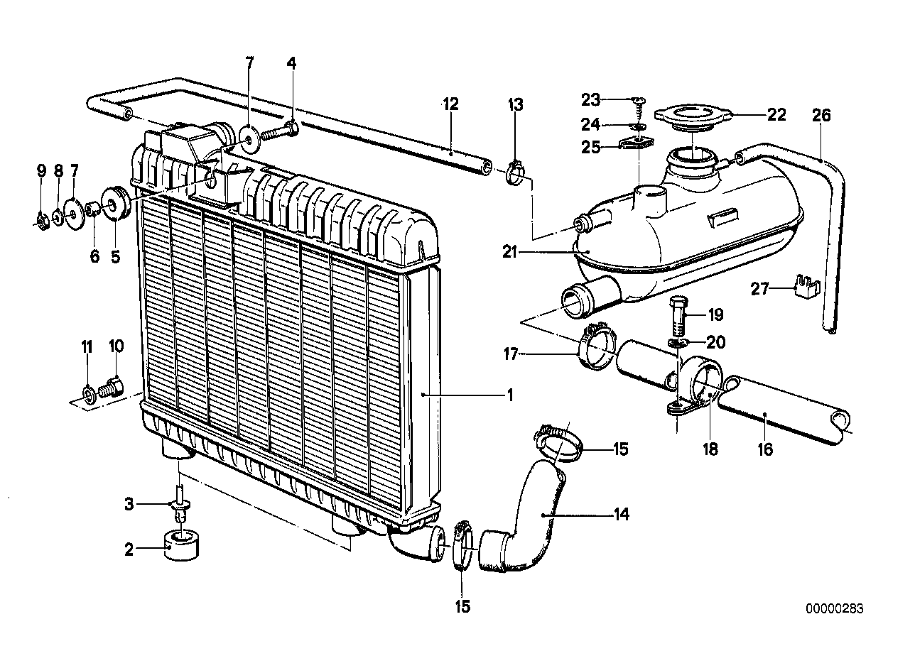 Radiator/expansion tank/frame