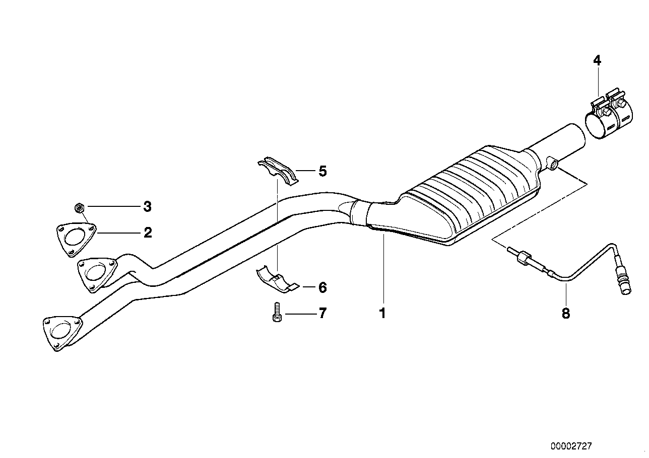 Catalytic converter/front silencer