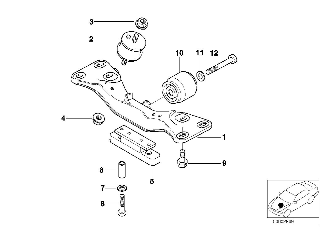 Suspensão motor/caixa velocidades BMW E38 sedan/fechado 47507