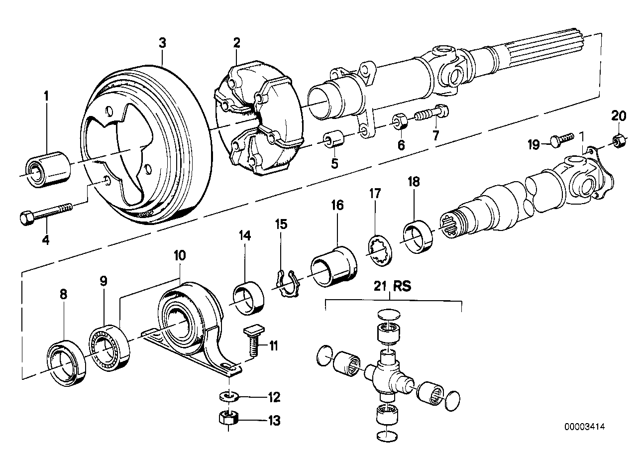 Drive shaft,univ.joint/centre mounting