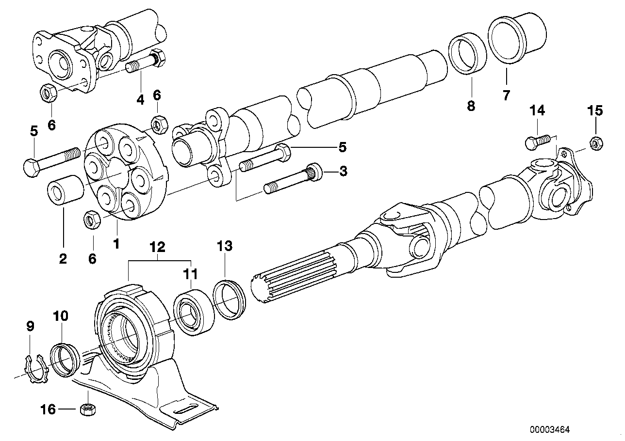 Drive shaft-cent.bearing-universal joint