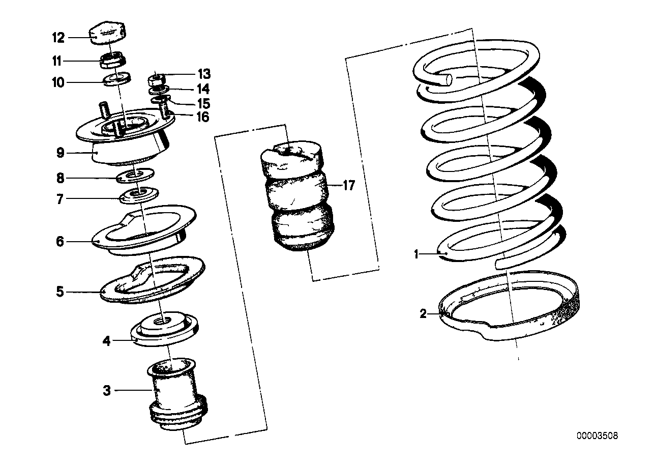 Coil spring/guide support/attach.parts