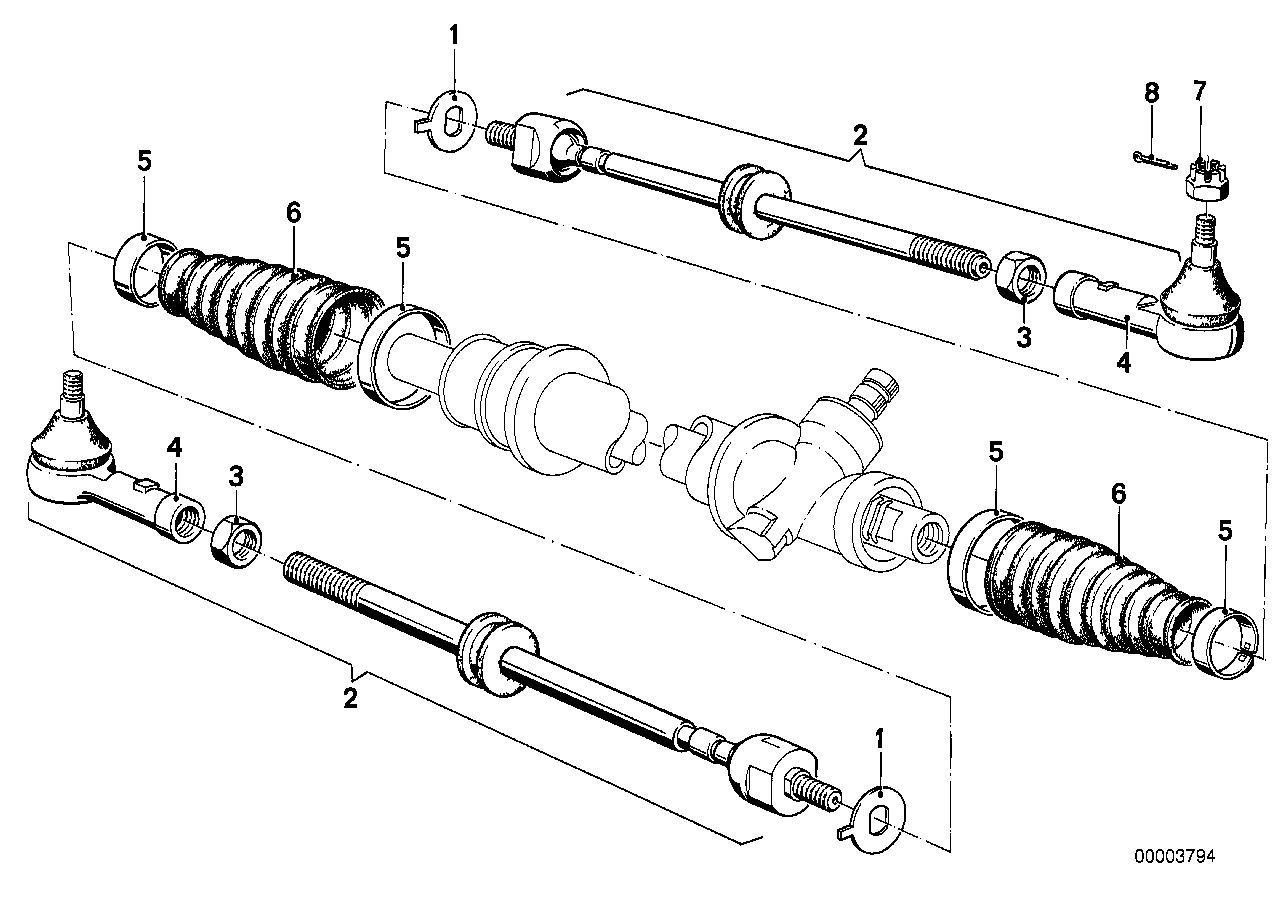 Tie rods without steering damper