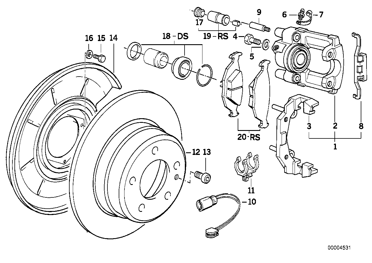 Rear wheel brake, brake pad sensor