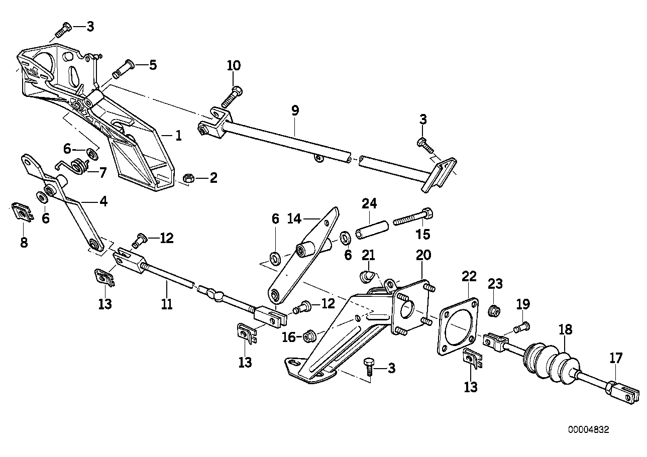 Brake linkage-Engine compartment