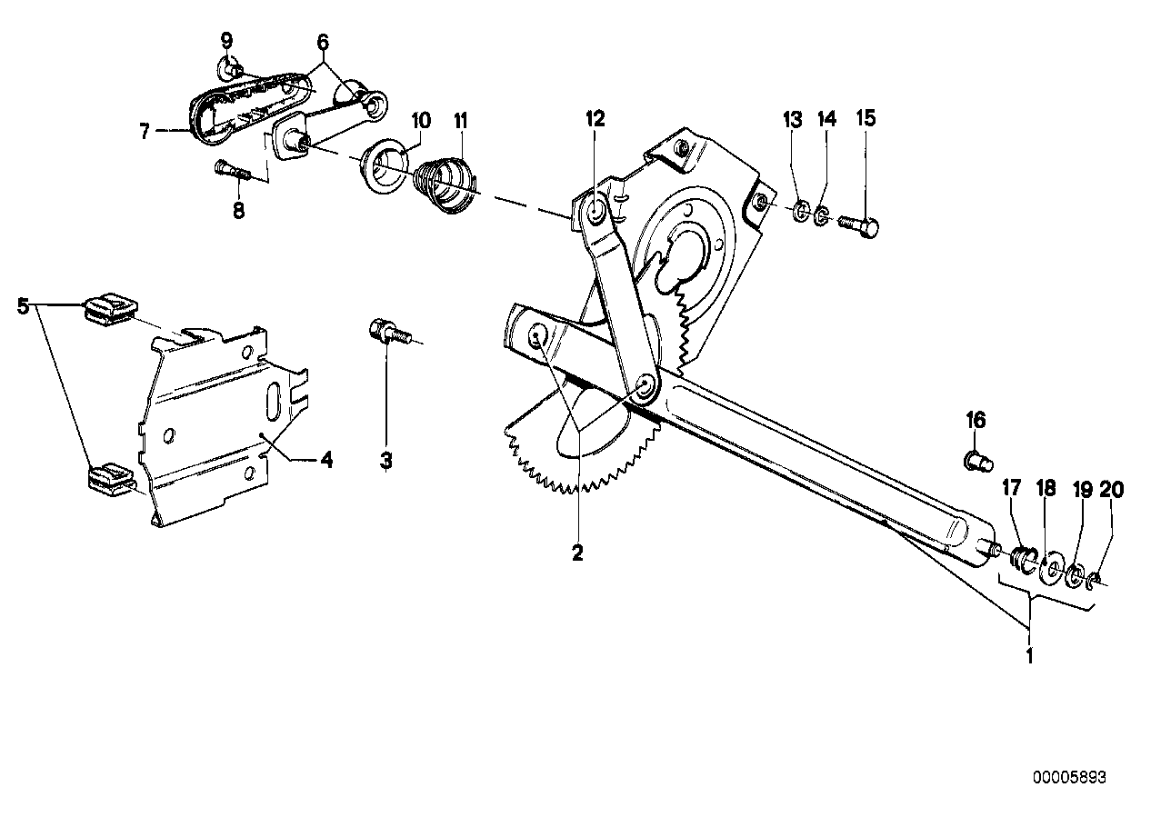 Door window lifting mechanism front