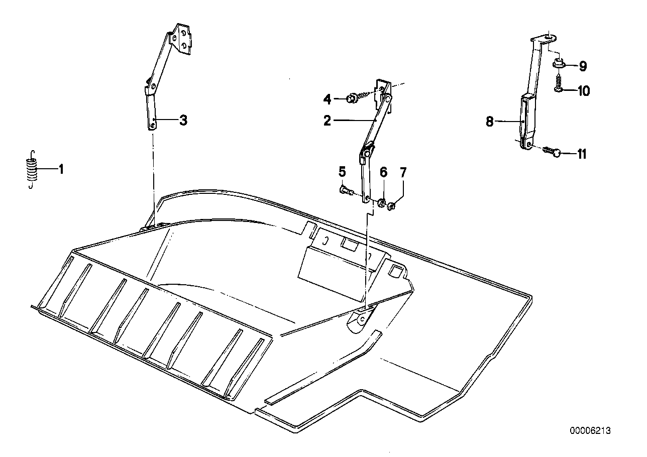Glove box mounting parts