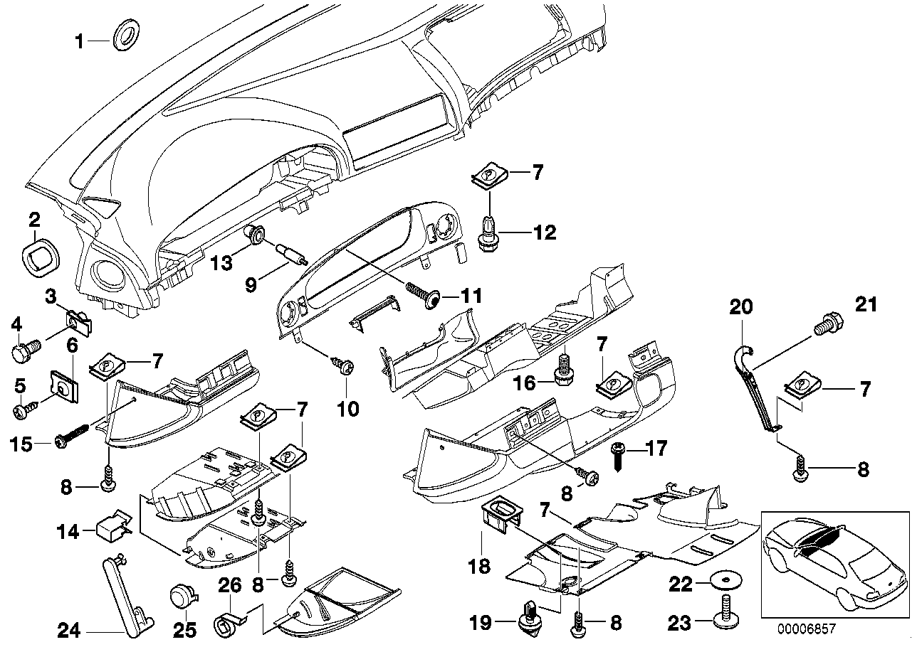 Mounting parts, instrument panel