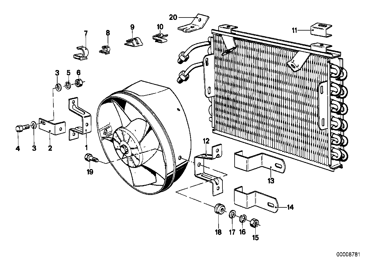 Air condit.condenser and mounting parts