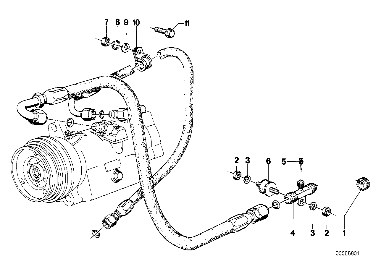 Air cond.system-valve/hose attachment