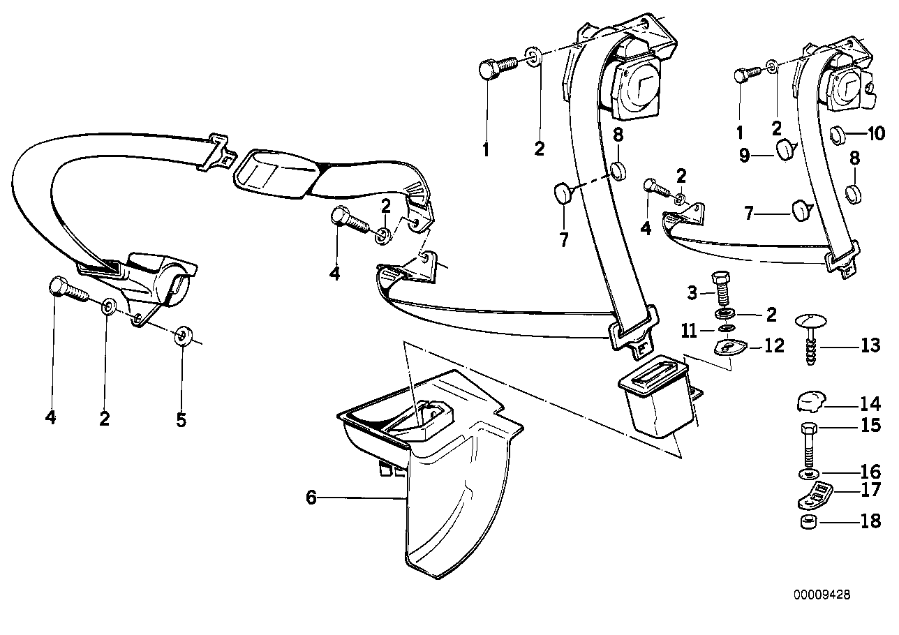 Rear safety belt mounting parts