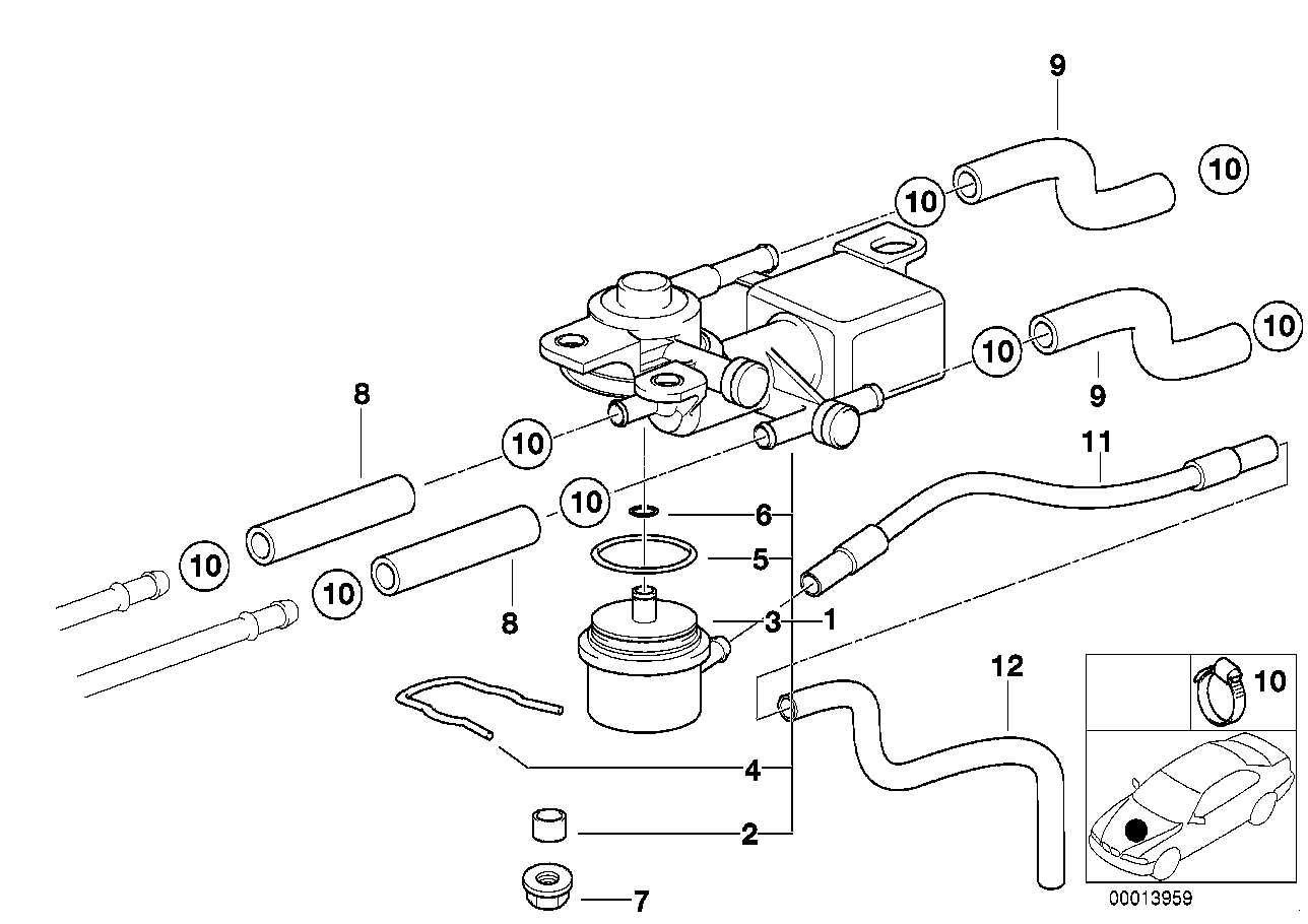 3/2-way valve and fuel hoses