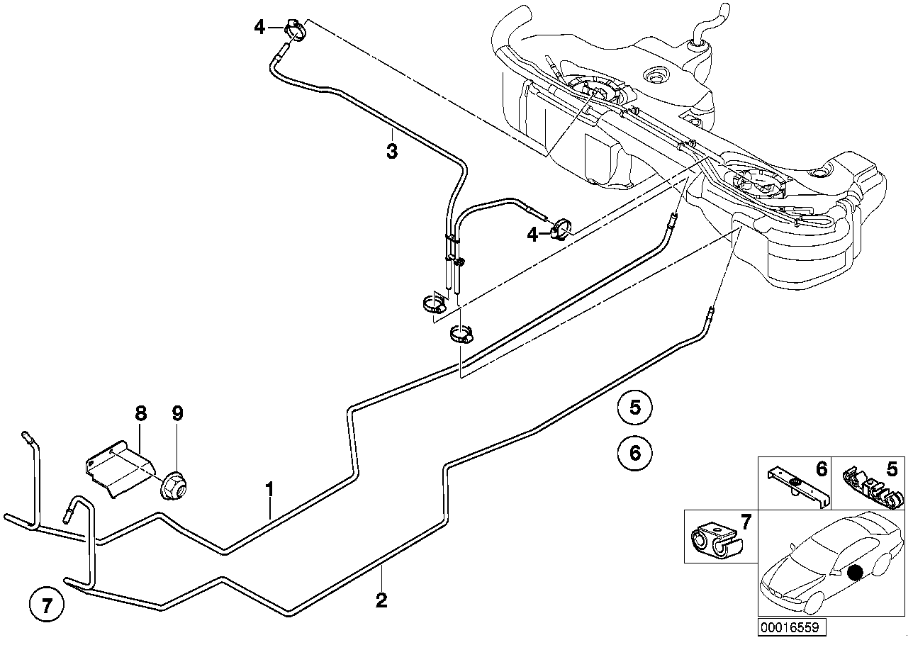 Fuel Pipe and Mounting Parts