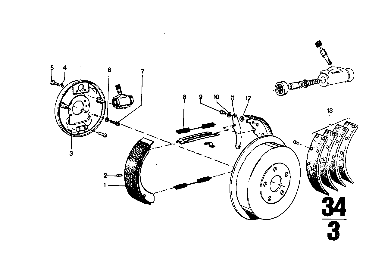 Drum brake-brake shoes/brake carrier
