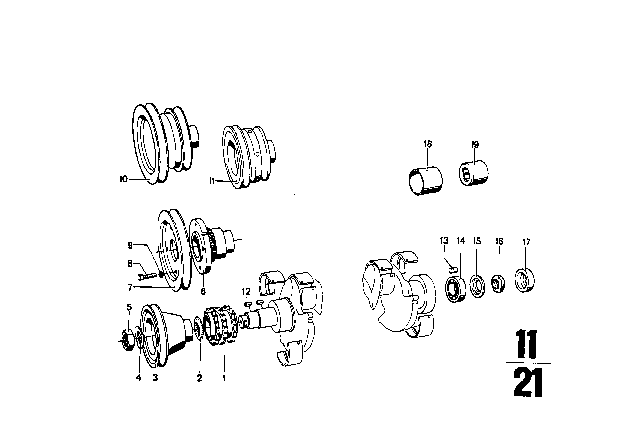 Crankshaft attaching parts
