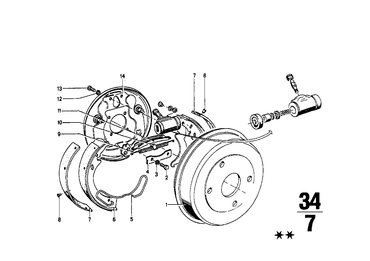 Rear wheel brake, drum brake