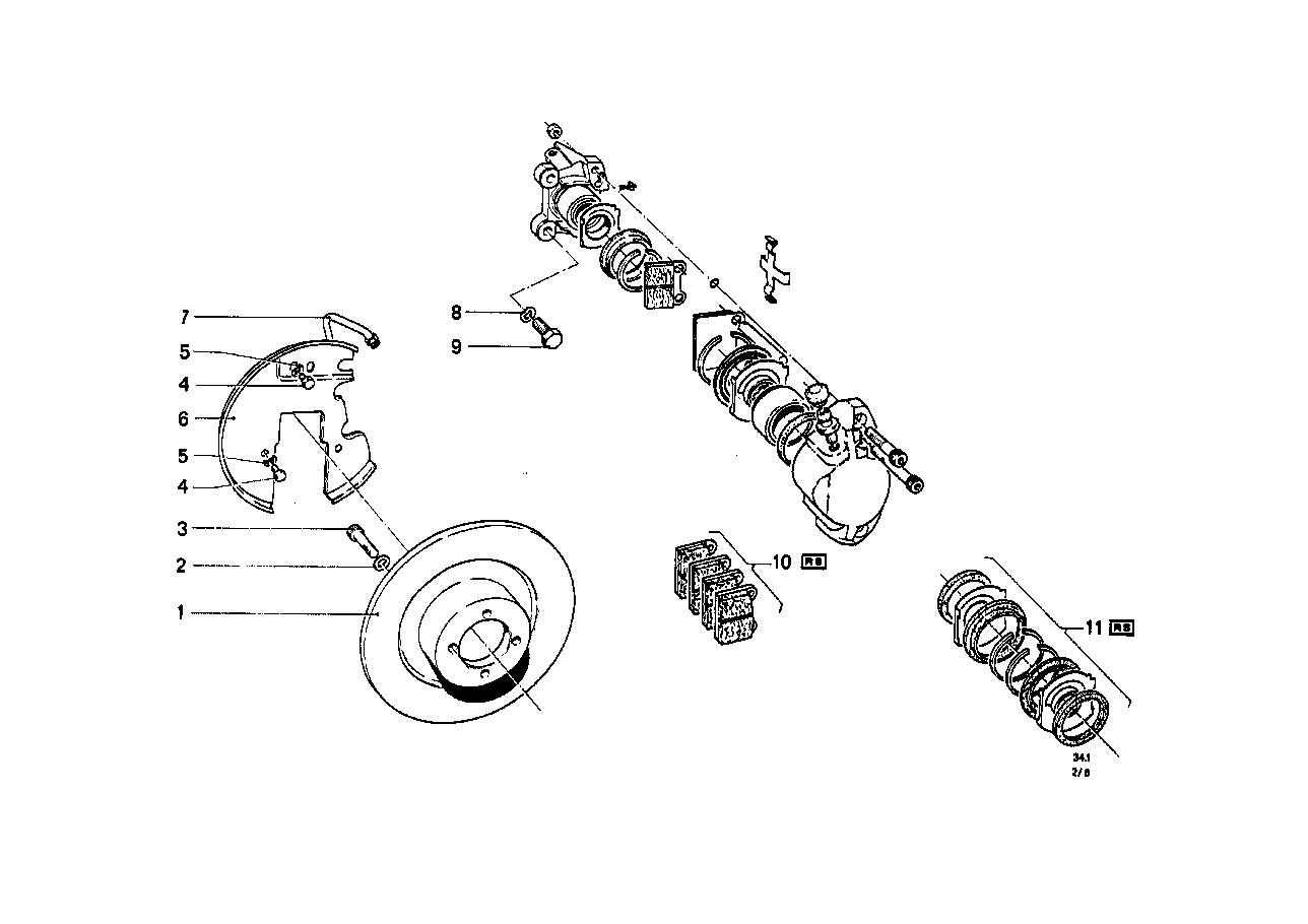 Front-wheel brake, single-circuit
