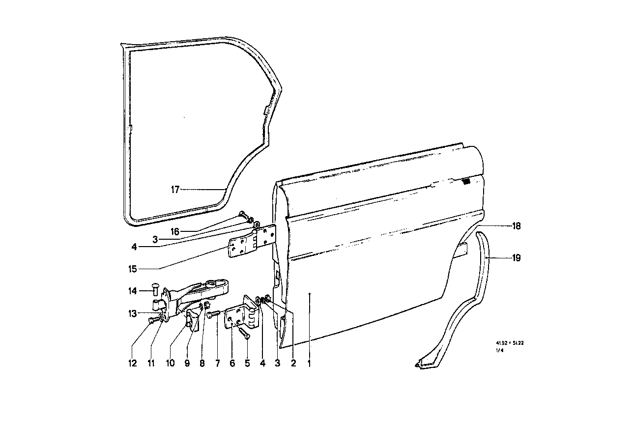 Rear door - hinge/door brake