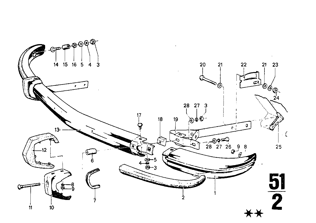 Front bumper with mounting parts