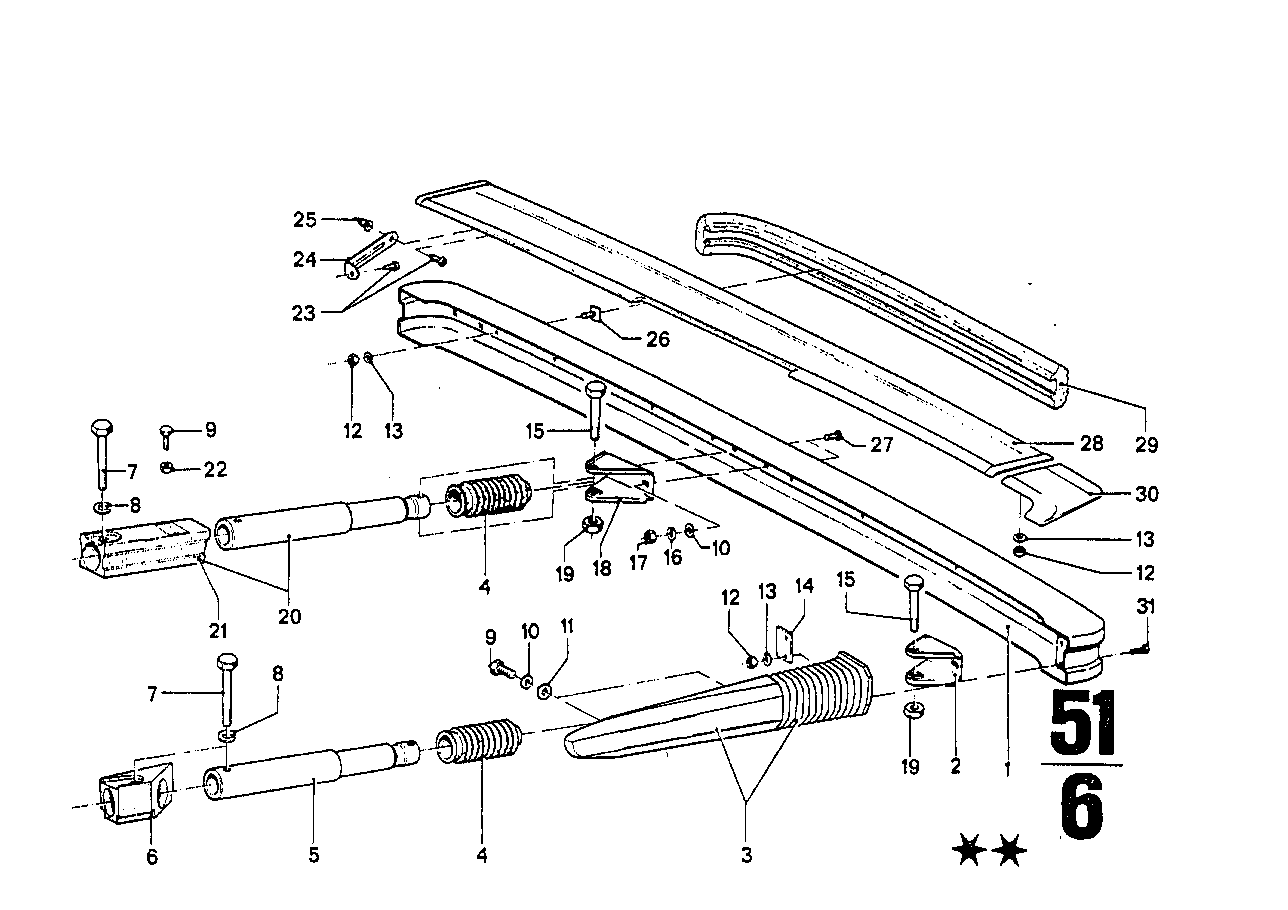 Rear bumper with mounting parts