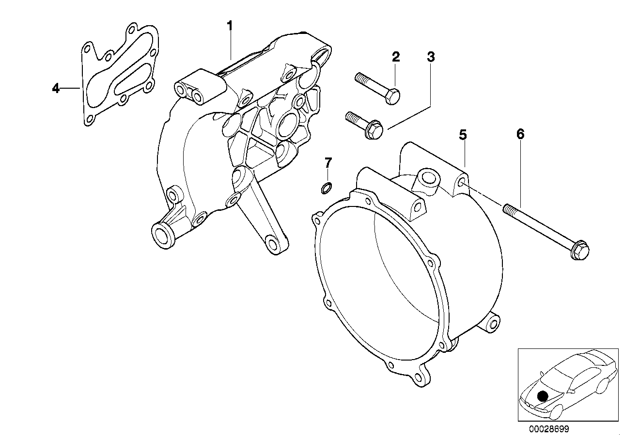 Single parts f alternator water-cooled