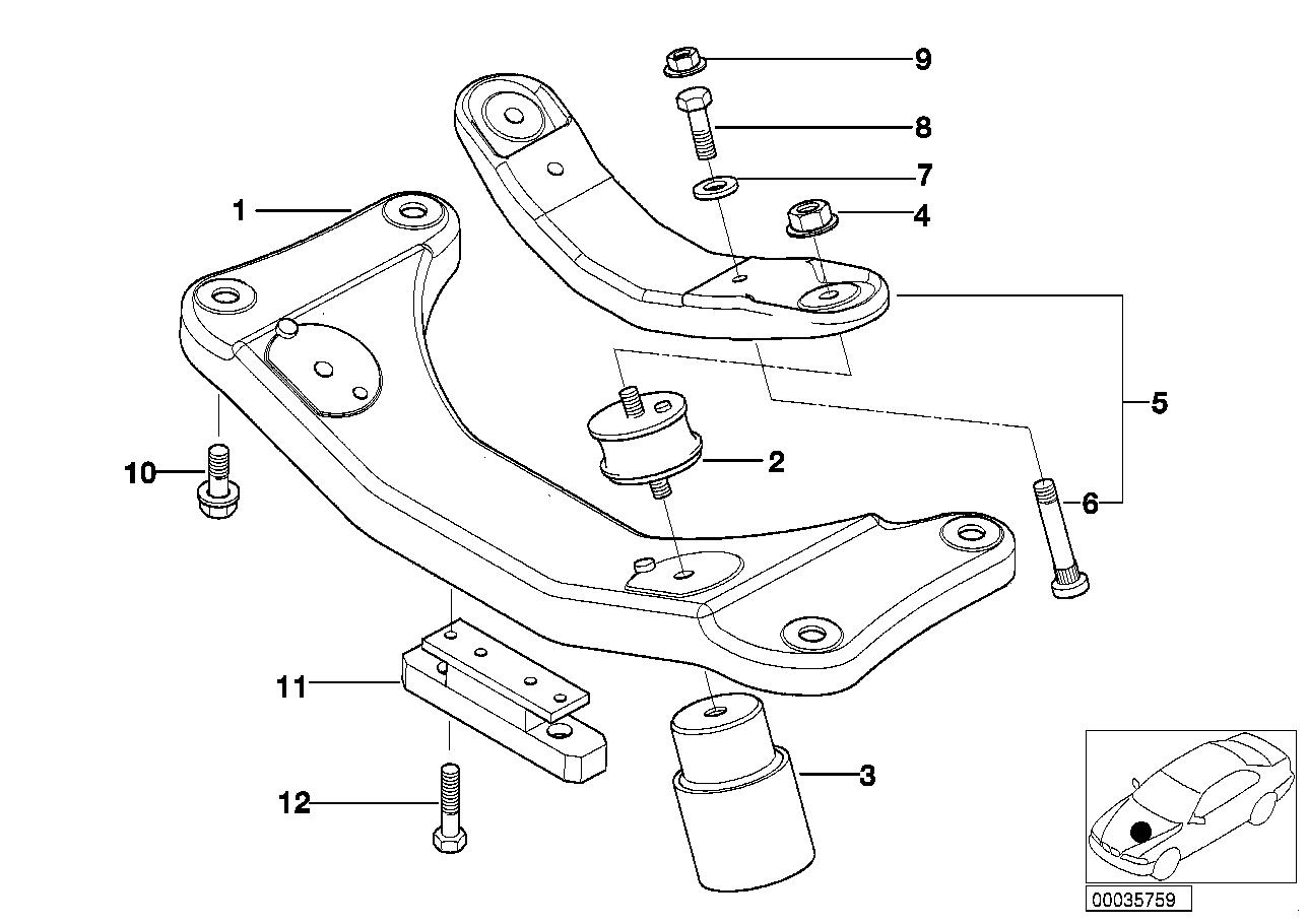 Suspensão motor/caixa velocidades BMW E39 sedan/fechado 47536