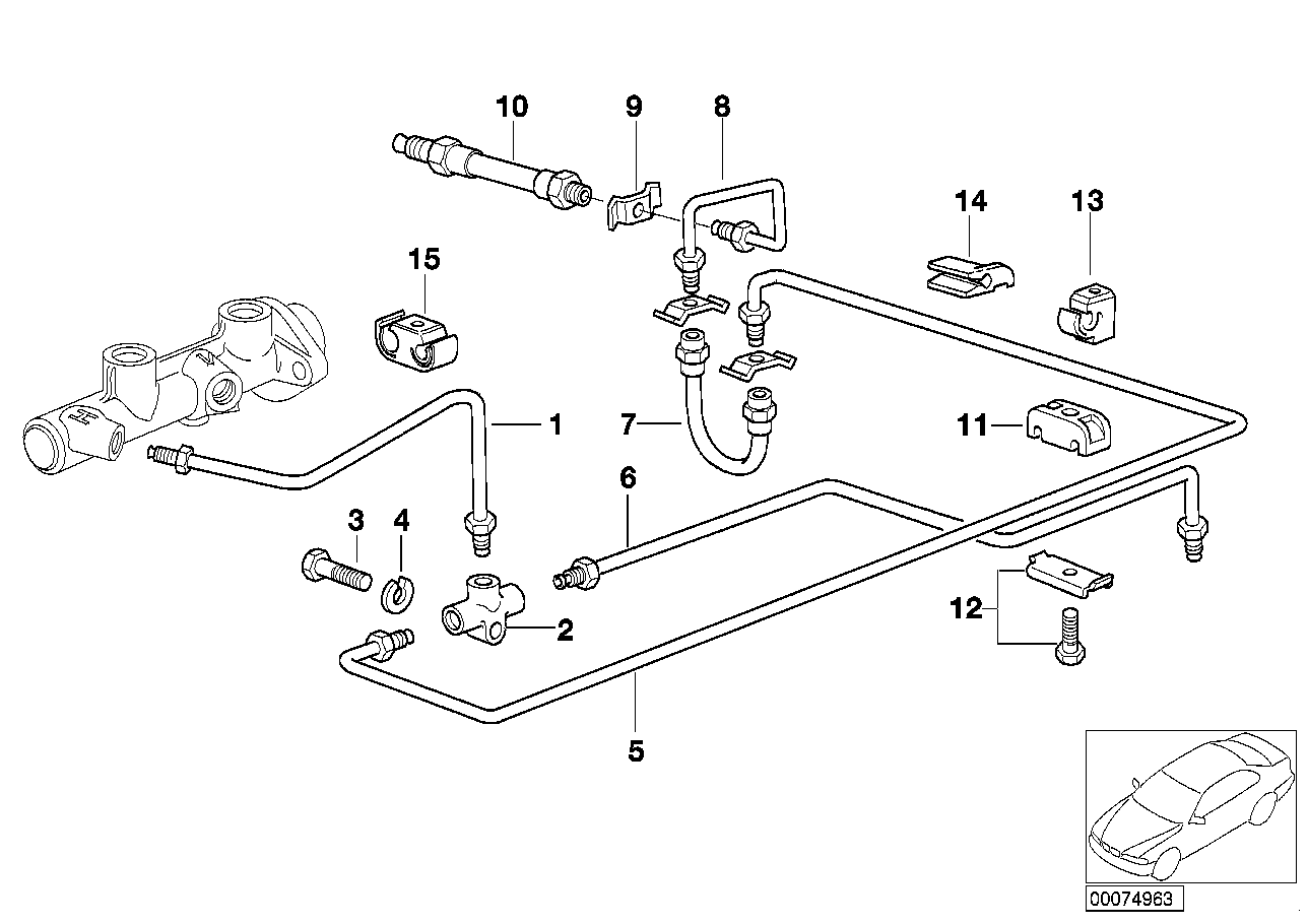 Brake line, rear, without ABS