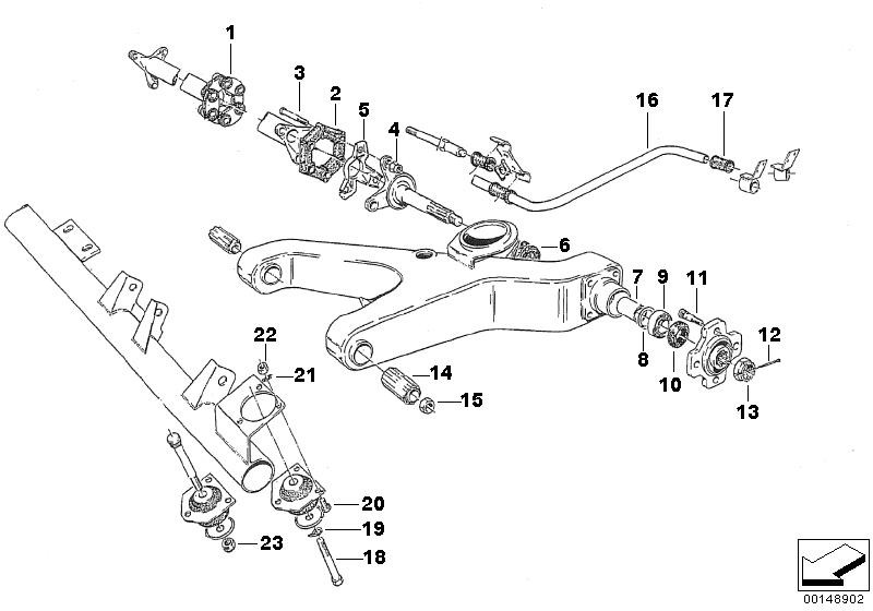 rear axle with suspension