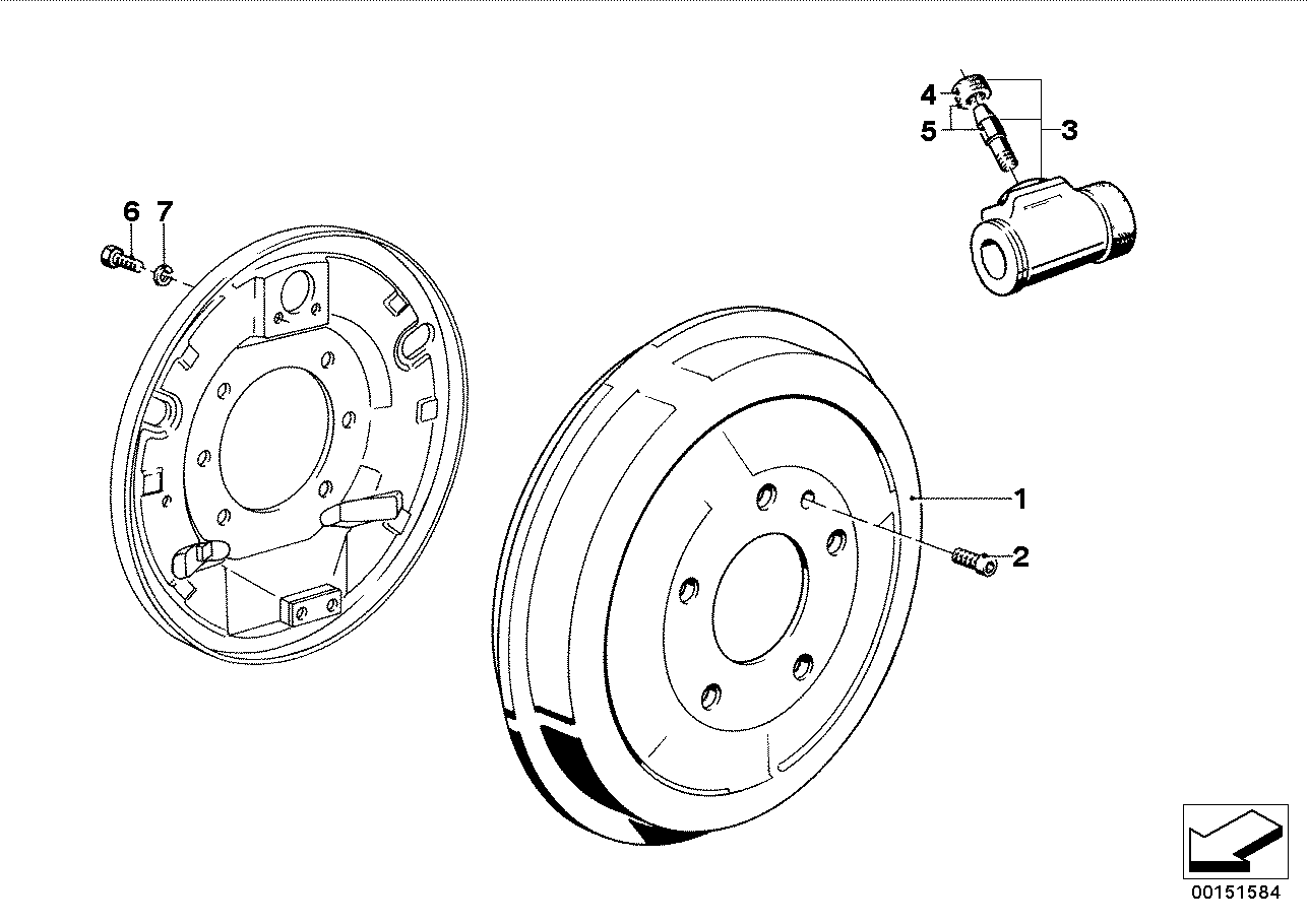 Drum brake-brake drum/wheel brake cyl.
