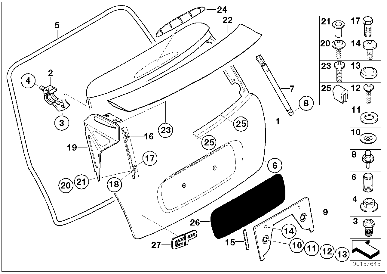 Mounting parts, rear lid