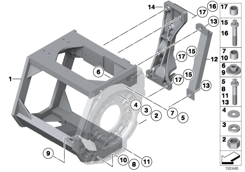 Support frame and mounting parts