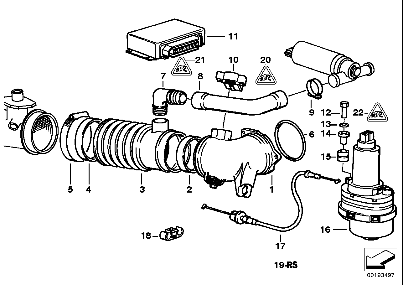 Secondary throttle housing tube ASC