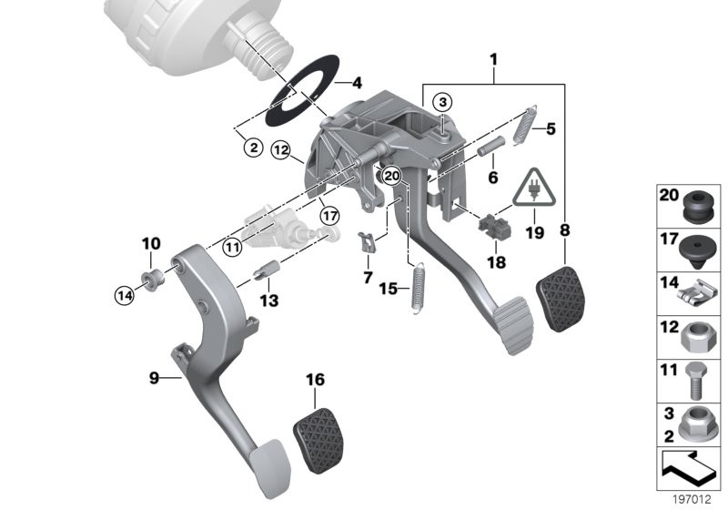 Pedals with return spring