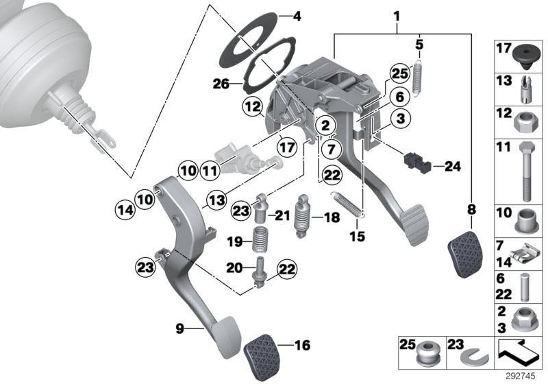 Pedal assy w over-centre helper spring