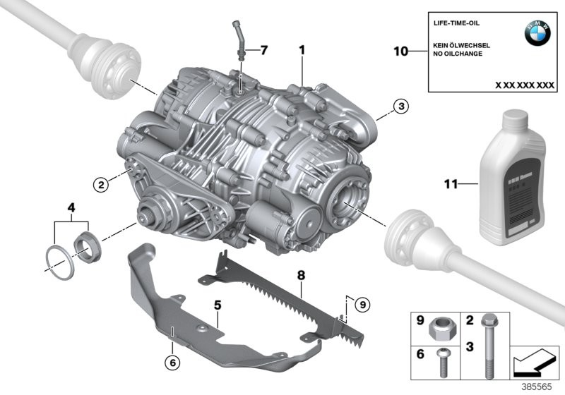 Rear axle differential QMV / Mounting