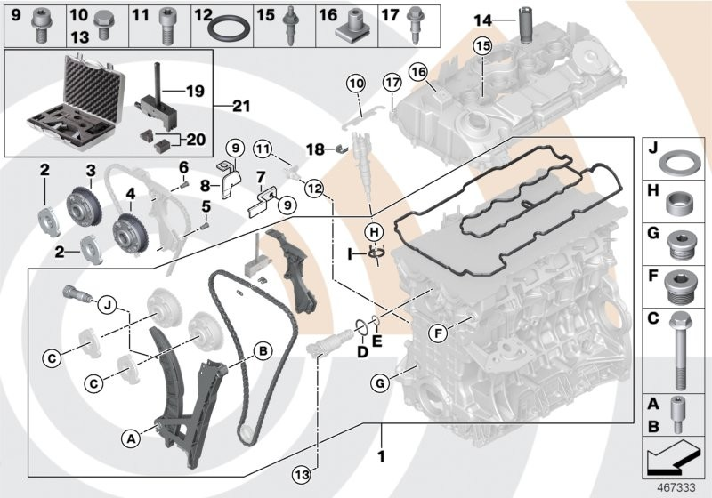 Repair kit, open timing chain, top
