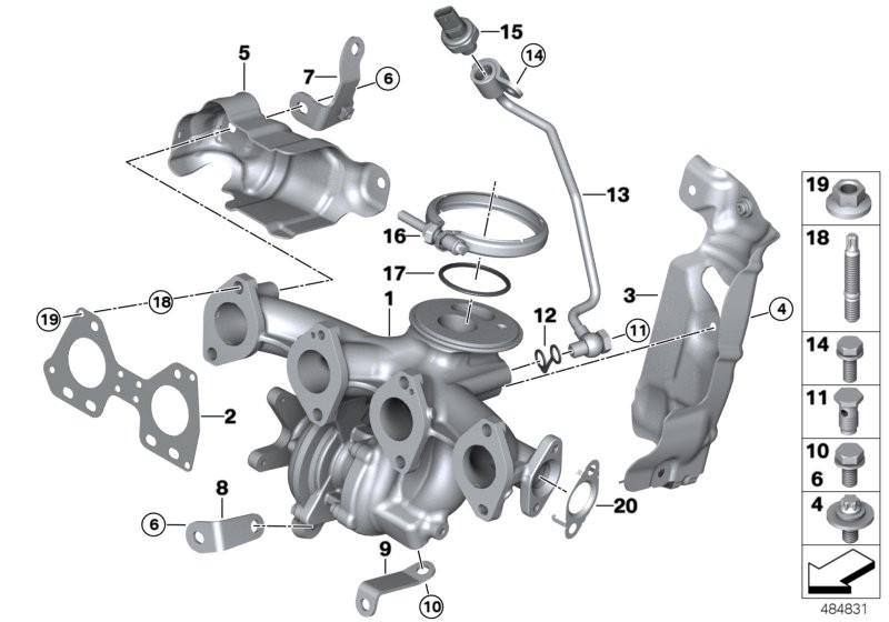 Exhaust turbocharger w.exhaust manifold