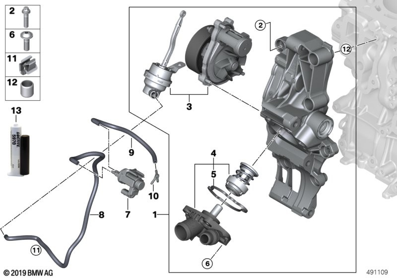 Cooling system - coolant pump/thermostat